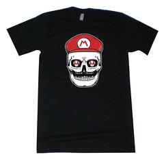 Mario Mushroom Skull T-Shirt (misnopalesart) Tags: art mushroom shirt illustration print de dead skeleton skull los clothing screenprint day jose tshirt super mario dia silkscreen printmaking muertos etsy apparel calavera calaca pulido