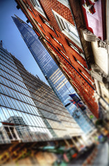 The shard - London - UK (ludozegna) Tags: street city uk bridge red sky house london tower home public glass station skyline skyscraper standing canon 1 mirror high europe strada european dynamic unitedkingdom district flag union piano free structure 330 adobe shade gradient manger second ft moor grattacielo shard autunno alto altezza londra 2009 hdr renzo pret inghilterra tallest emley metre 083 2013 a