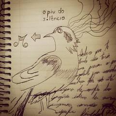 O piu do silencio - #bird #passaro #ilustracao #drawn #music #musica #silencio #silence (fffdesign) Tags: square squareformat earlybird iphoneography instagramapp uploaded:by=instagram
