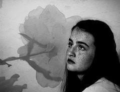 Teen Angst (Alethea Leggett) Tags: blackandwhite flower girl rose freckles texturebybrookeshaden