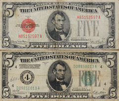 1928 Five-Dollar Bills and Their Story... (Mark Birkle) Tags: red money john gold photo bill order image w picture reserve certificate bank seal f illegal lincoln historical collectors 1928 executive federal currency snyder demand amer sigil 6102 fivedollar a redeemable thesaur septent 1928a 1928f