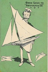 1903 SIR THOMAS LIPTON  AMERICAS CUP GOOD LUCK TO SHAMROCK III MODEL YACHT HUMOUR (oldsailro) Tags: park old boy sea summer people sun lake playing beach cup water pool girl sunshine youth sailboat race vintage children fun toy boat miniature wooden pond model waves sailing ship child time yacht thomas good antique iii group humour boom luck to regatta mast hull spectators sir shamrock americas watercraft lipton 1903 adolescence keel fashioned