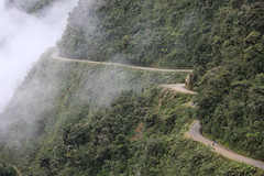 Walking / Biking the worlds most dangerous road in Bolivia (Alex E. Proimos) Tags: road cliff mist mountain bike walking death scary dangerous tour crash walk bolivia most edge cycle biking worlds worst died worlds