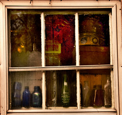 One Window . . . Six Views (Terrell Solana) Tags: window bottles views smithstationantiques elementsorganizer
