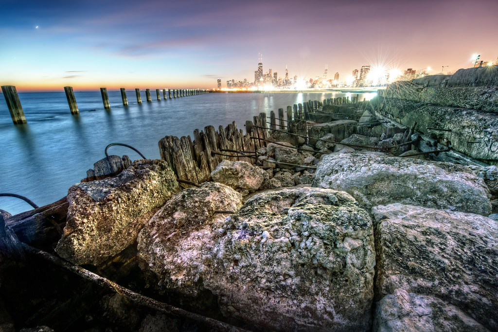 Looking back at the city from some boulders near North Ave. Beach.