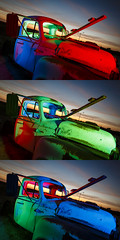 RGB Truck Triptych (Notley) Tags: missouri notley notleyhawkins 10thavenue httpwwwnotleyhawkinscom missouriphotography notleyhawkinsphotography ruralphotography light lightpainting night nocturne midwest ruralusa evening red redlight 2016 sky clouds sunset truck abandoned pickuptruck tree rearviewmirror coopercountymissouri overtonmissouri july bluelight redgel bluegel blue green greenlight greengel rgb rgblight bluehour triptych trio triad