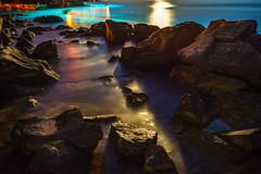 Moonlit Pools (Falcdragon) Tags: minoltaaf28mmf28 sonya7alpha ilce7 water sea adriatic rocks rockpools longexposure reflection light moonlight night stone