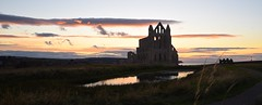 Whitby Abbey sunset (PadRowl) Tags: whitbyabbey whitby abbey sunset pond sky ruin uk england dracula clouds view landscape