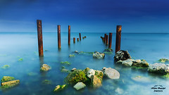 Blue and Something! (HakanGil) Tags: blue bluesky sea rock wharf ruins outdoor nature longexposure alga seaweed scene