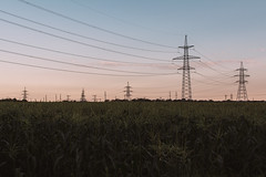Corn field (Frostroomhead) Tags: landscape field corn sunset transmission towers clouds nature wires sigma 30mm f14 art nikon d5200 dark
