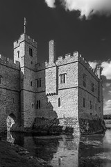 Shadows at Leeds Castle (James Waghorn) Tags: castle summer sigma1750f28exdcoshsm d7100 water maidstone reflections blackandwhite clouds shadows kent silverefexpro2 leedscastle medieval historic tourism famous nikon england