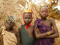 Mursi people (davidevarenni) Tags: bambini murai trine trib etiopia ethiopia