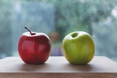 Two apples (freestocks.org) Tags: apple closeup delicious diet eat food fresh fruit green group health healthy juicy meal natural object organic pair raw red ripe snack summer sweet tasty two various vegetarian vitamin wooden