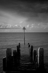Into the distance (Sundornvic) Tags: bw blackwhite sea seaside posts water sky ir pentaxart