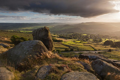 Curbar Edge (Paul Newcombe) Tags: peakdistrict sidelight england peaks uk outdoor outdoors curbaredge derbyshire landscape rocks view village trees summer endofsummer autumn light vista hills paulnewcombephotography canon1635f4l 2016september