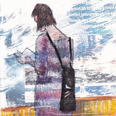 # 257 (13-09-2016) (h e r m a n) Tags: herman illustratie tekening bock oosterhout zwembad 10x10cm 3651tekenevent tegeltje drawing illustration karton carton cardboard vrouw woman boek book reader lezer lezen