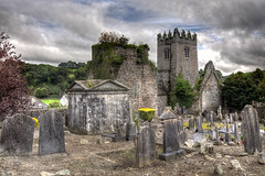 The White Castle (robertdownie) Tags: church clouds old architecture cemetery castle stone graveyard death medieval ireland grave tomb st marys priory white tower house inistioge augustinian inis tog