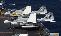 A-6E Intruders 152630 and 159176 of VA-128 NJ-827 and NJ-828 (JimLeslie33) Tags: 152630 159176 a6 a6e va128 atkron 128 uss constellation cv64 grumman intruder nj naval aviation usn navy olympus om1 a2f goldenintruders