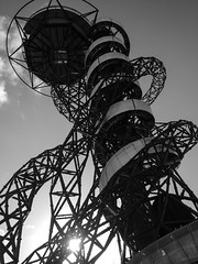 In Orbit (marktmcn) Tags: arcelormittal orbit designers anish kapoor cecil balmond arun queen elizabeth olympic park stratford london tower twisting spiralling public art setting set underneath looking up sun sculpture