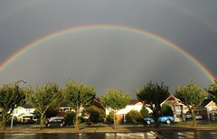 Double Rainbow 180 (How.I.E) Tags: color prism dusk summer rain shower sky clouds 180degrees cool neat wow awesome beautiful storm light purple red yellow