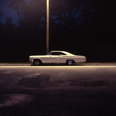 Mando's Chevy (patrickjoust) Tags: auto park street city urban usa white color classic 120 6x6 mamiya tlr film car night analog america dark square lens us reflex md focus automobile long exposure fuji mechanical united release tripod north patrick twin maryland slide cable s baltimore chevy chrome after medium format states tungsten manual impala expired 80 joust fujichrome e6 f28 hampden wyman estados 80mm unidos c330 sekor t64 autaut patrickjoust