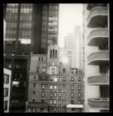 A Room With A View (tobysx70) Tags: door new york toby bw white ny black building slr sepia skyscraper silver project polaroid sx70 hotel office view manhattan lexington balcony uv tip shade 600 frame highrise rollers hancock avenue slr680 doubletree 680 impossible the px frankenroid silvershade theimpossibleproject px600uv tobyhancock impossaroid