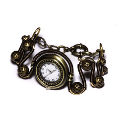 Steampunk Victorian Jewelry - Antique Brass - Working watch bracelet (Catherinette Rings Steampunk) Tags: wire watch jewelry jewellery bracelet etsy deviantart steampunk