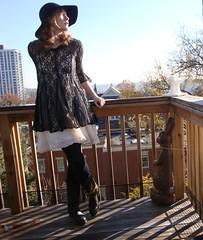 DSC08653 (Becky Haltermon) Tags: black hat fashion ruffles blog cowboy dress boots lace style felt floppy empire babydoll cowboyboots floppyhat flouncy empirewaist