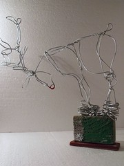 the cautious reindeer. (Slackgirl) Tags: christmas reindeer wire decoration