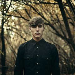 (ajcoleyyy) Tags: trees portrait black fall leaves shirt self bokeh military simple