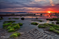 Serene Green Sunset (StevieC-Photography) Tags: sunset sea seascape green water landscape scotland sand calm sunburst serene tranquil arran cokin sigma1020 steviec