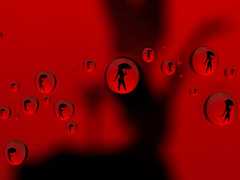 In the rain (Wroot Down) Tags: red lightpainting black macro water glass rain silhouette lumix drop adapter refraction droplet rainx raynox raynoxdcr150 fz150 alemdagqualityonlyclub panasoniclumixfz150