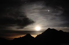Jupiter and Moon (.:: Maya ::.) Tags: sky moon mountain nature beauty night stars peak bulgaria jupiter  pirin         mayaeye mayakarkalicheva