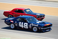 'Cuda vs. Mustang (autoidiodyssey) Tags: california usa cars ford race vintage monterey plymouth 1970 1968 mustang cuda aar transam lagunaseca montereyhistorics craigjackson nickdevitis 2012rolexmontereymotorsportsreunion