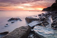 Golden hour seascape (Alja Vidmar | ADesign Studio) Tags: longexposure sunset sea seascape clouds landscape nikon slovenia sherpa goldenhour 200r cokin velbon ndfilter gnd ankaran d5000 nd8x gradis