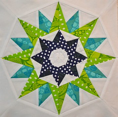 Block for MyFabricObsession (jenjohnston) Tags: blue green star aqua turquoise navy compass quiltblock paperpieced quiltingbee 4x5bee