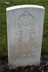 W. Stevenson, Royal Inniskilling Fusiliers, 1940, War Grave, Oosttaverne Wood (PaulHP) Tags: cwgc war grave belgium w walter stevenson fusilier service number 3773889 30th may 1940 4th june 2nd bn battalion royal inniskilling fusiliers rif thomas elizabeth everton lancs lancastershire oosttaverne wood military cemetery ww2 marker headstone world