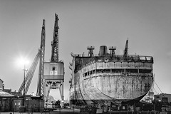 Dry Dock, Mare Island (Photography by Servando Miramontes) Tags: california blackandwhite monochrome fog 35mm nikon raw foggy gritty late vallejo f8 mareisland nightshooting drydocks grittiness d3100