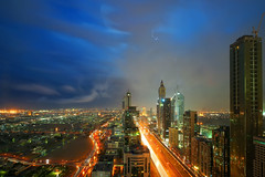 #850E2134 - Night rain in the city (crimsonbelt) Tags: street city longexposure rain night clouds buildings dubai lightening