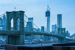 Brooklyn Bridge - The Blue Hour (nathan camarillo) Tags: world new york city nyc bridge blue architecture brooklyn one 1 nikon dumbo hour wtc trade d800