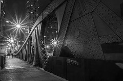 Night Time Bridge (rseidel3) Tags: bridge people bw chicago metal night buildings river lights