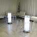Capo Sofa, Capo Bench, Charles Ghost High Stool Clear, Illuminated Bar Table  - Furniture Hire London