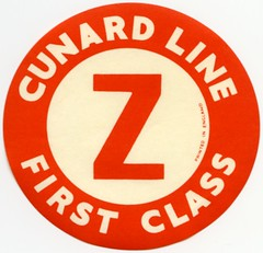 Cunard Line First Class Z Luggage Label (Alan Mays) Tags: ephemera labels luggagelabels advertising advertisements ads diecuts paper printed cunardline cunard cruiselines cruiseships firstclass borders round circles circular red white england uk unitedkingdom antique old vintage typefaces type typography fonts