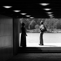 Daydreamers (mkorolkov) Tags: street city shadow people blackandwhite sunlight monochrome silhouette streetphotography tunnel shade fujifilm daydreamer xe1 xc50230