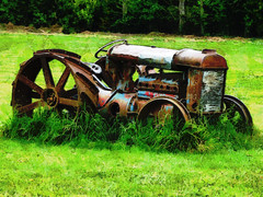 Taking Root (Steve Taylor (Photography)) Tags: blue red newzealand brown tractor black green art field grass metal digital rust farm nelson machinery nz vehicle southisland steeringwheel fordson takingroot