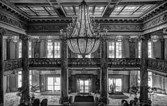 Renaissance Revival Lobby (Jersey JJ) Tags: city bw lake building architecture joseph hotel utah ut memorial salt smith lsd lobby slc ornate renaissance hdr revival