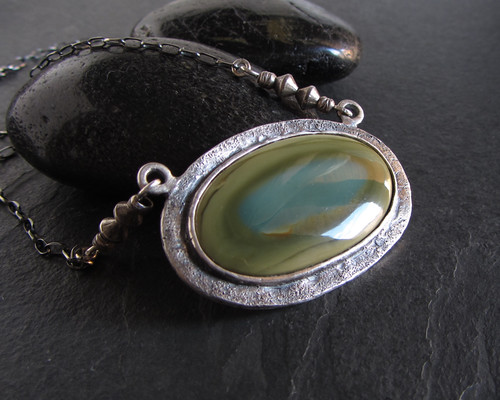 Sterling silver imperial jasper necklace