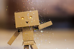 Ain't No Party Like a Danbo Party! (jasminshragai) Tags: party glitter fun bokeh flash indoors figure danbo