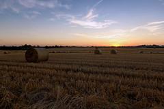 Evening Sunset (jonathon lynam) Tags: sunset ireland dublin skerries blue yellow orange hay rolls farming evening north arable nikond40 nikon nikonphotography