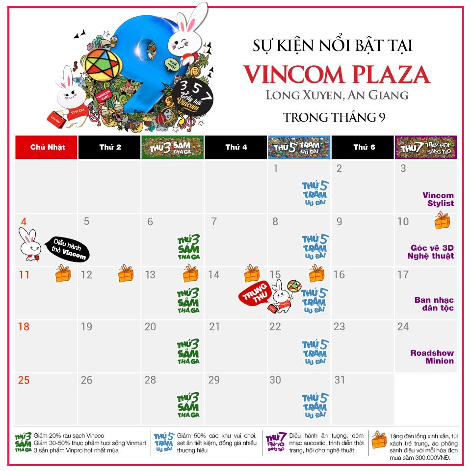 Tháng 9 này, có gì chờ bạn ở Vincom Plaza Long Xuyên
